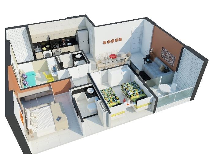Planta 3d 3 quartos