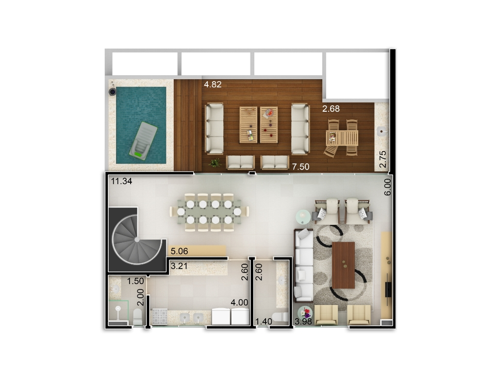 Planta baixa apto 201 - Duplex do Bloco B - piso 2