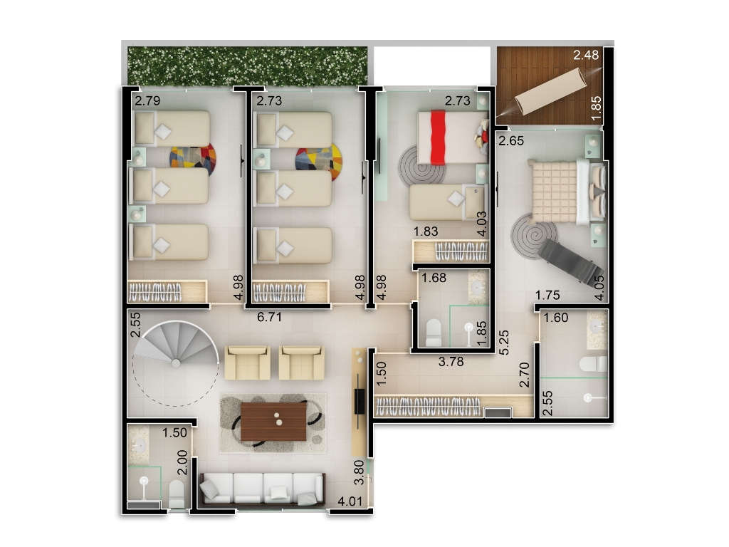 Planta baixa apto 201 - Duplex do Bloco B - piso 1