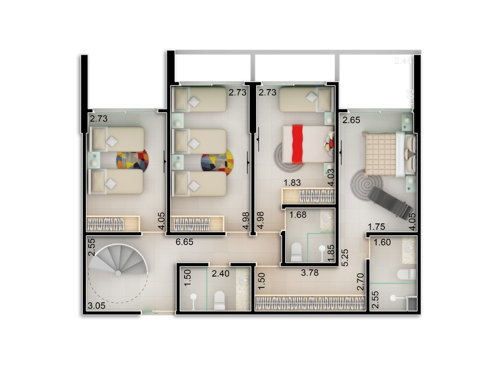 Planta baixa apto 204 - Duplex do Bloco B - piso 1