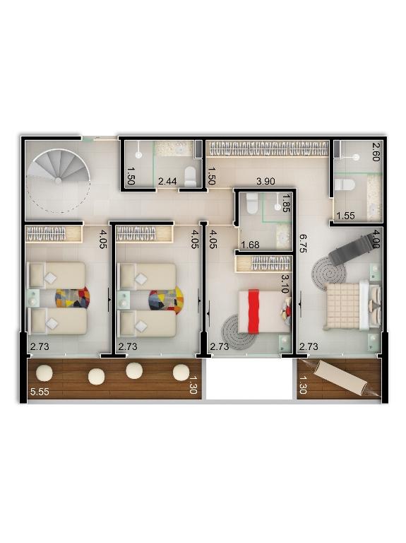 Planta baixa apto 203 - Duplex do Bloco A - piso 1