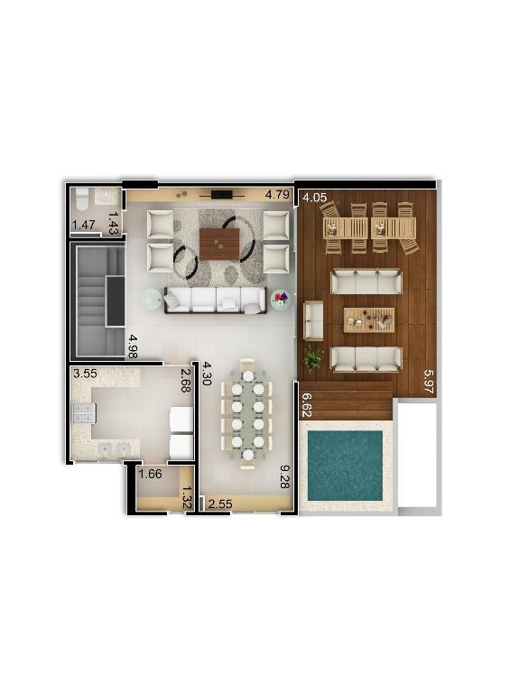 Planta baixa apto 208 - Duplex do Bloco A - piso 2