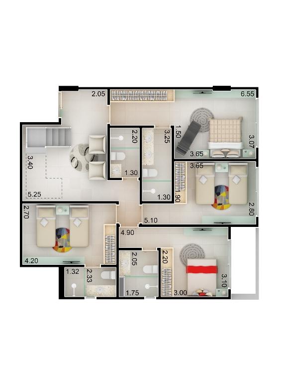 Planta baixa apto 208 - Duplex do Bloco A - piso 1