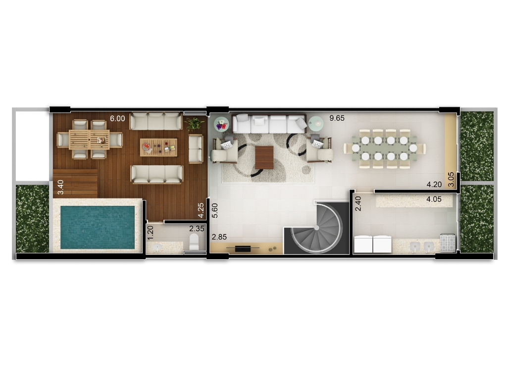 Planta baixa apto 203 - Duplex do Bloco A - piso 2